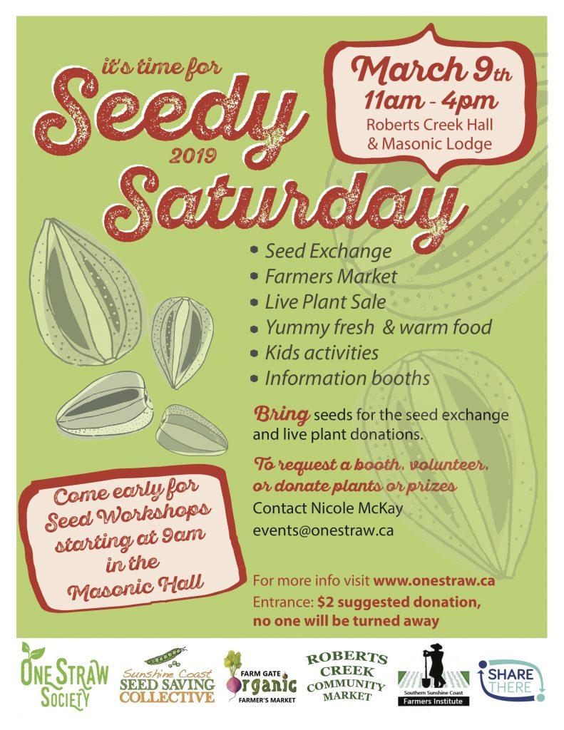 One Straw Society Annual Seedy Saturday @ Roberts Creek Community Association | Roberts Creek | British Columbia | Canada